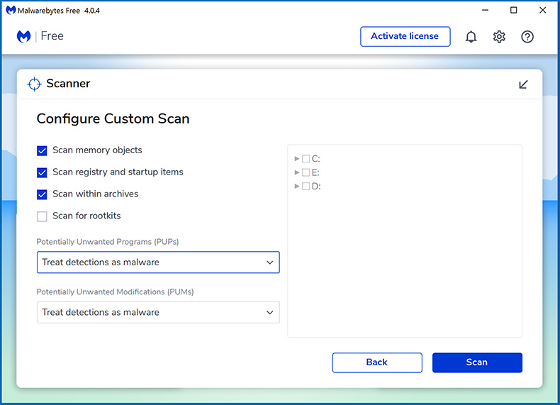 Malwarebytes 4.0 Custom scan