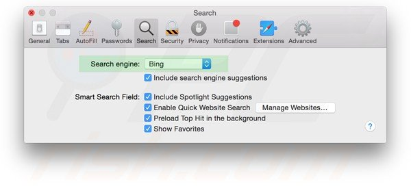 resetting safari settings to default step 4 - changing default search engine