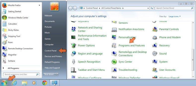 Accéder aux Programmes et Fonctions (désinstallation) dans Windows 7