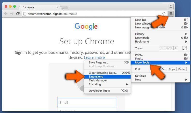Suppression des extensions malicieuses dans Google Chrome étape 1
