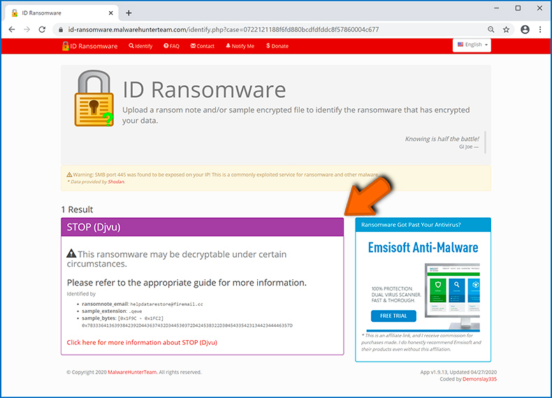 Identifier l'infection de type ransomware (étape 4)