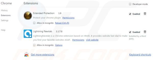 Suppression des extensions d'Aartemis dans Google Chrome