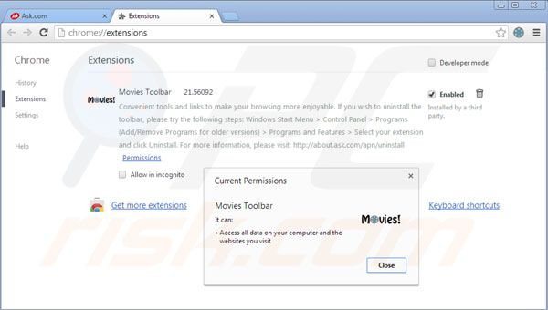Suppression des extensions de la barre d'outils Movies dans Google Chrome