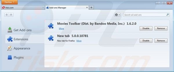 Suppression des extensions de la barre d'outils Movies dans Mozilla Firefox