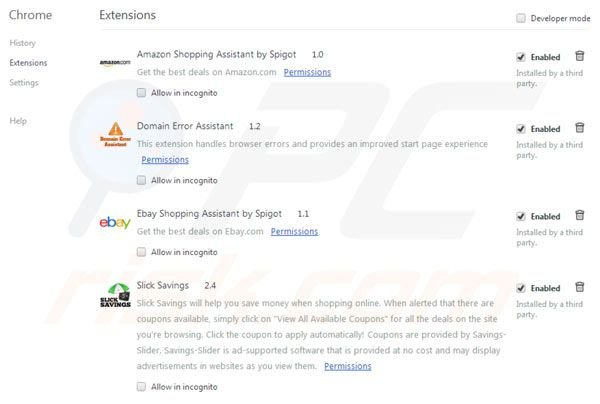 Suppression des extensions de Spigot dans Google Chrome