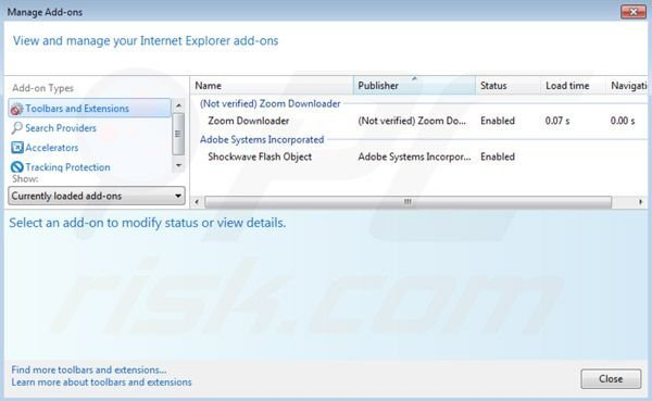 Suppression des extensions de Zoom downloader dans Internet Explorer étape 2