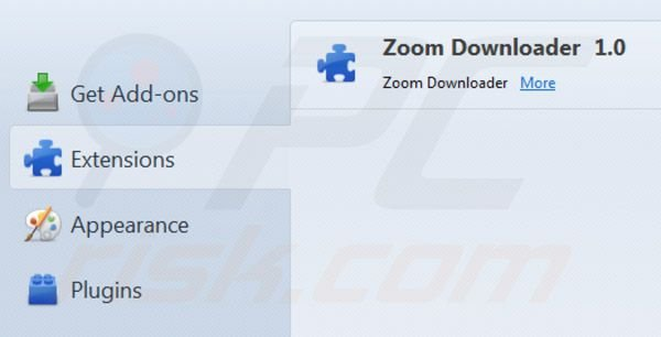 Suppression des extensions de Zoom downloader dans Mozilla Firefox étape 2