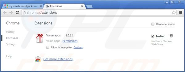 Suppression des extensions de  mysearch.sweetpacks.com dans Google Chrome