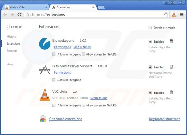 Suppression des extensions du virus d'application vlc dans Google Chrome étape 2