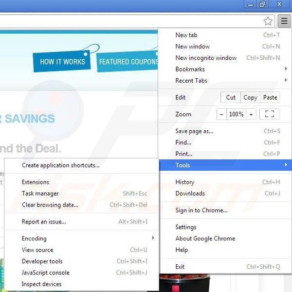 Suppression de RR Savings dans Google Chrome étape 1