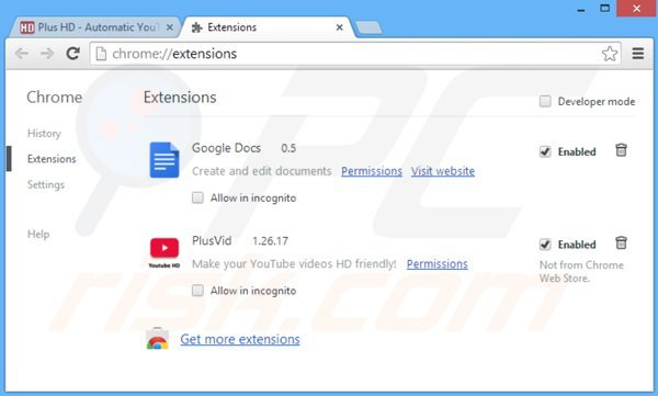 Suppression de plusvid dans Google Chrome étape 2