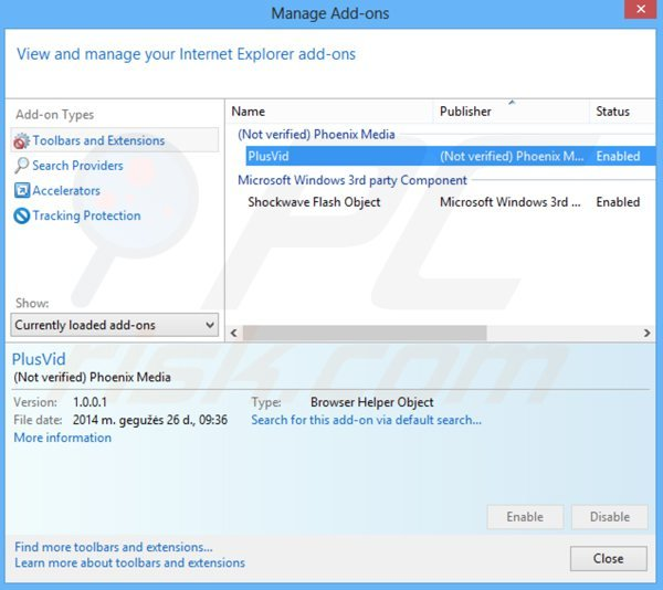 Suppression de plusvid dans Internet Explorer étape 2