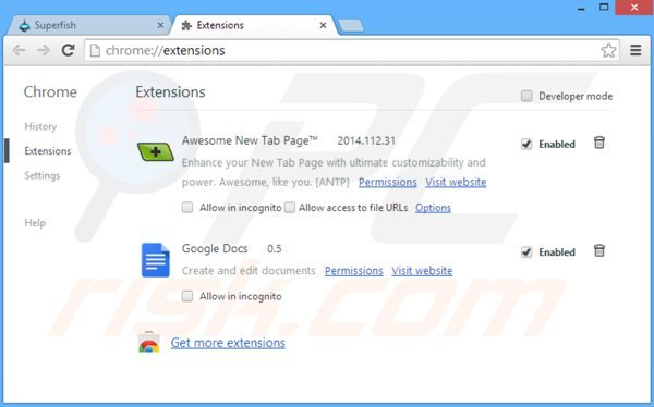 Suppression des publicités app of the day dans Google Chrome étape 2