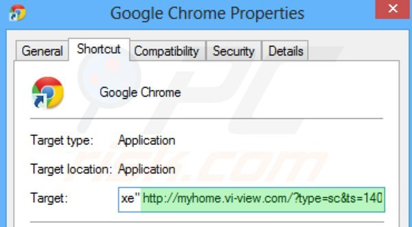 Suppression du raccourci cible de myhome.vi-view.com dans Google Chrome étape 2
