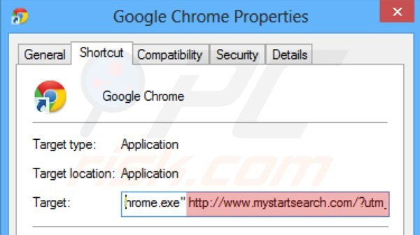 Suppression du raccourci cible de mystartsearch.com dans Google Chrome étape 2
