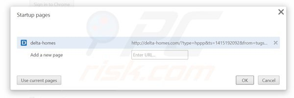 Suppression de la page d'accueil de delta-homes.com dans Google Chrome
