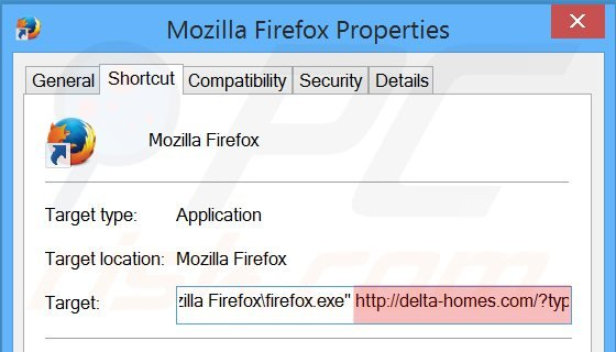Suppression du raccourci cible de delta-homes.com dans Mozilla Firefox étape 2