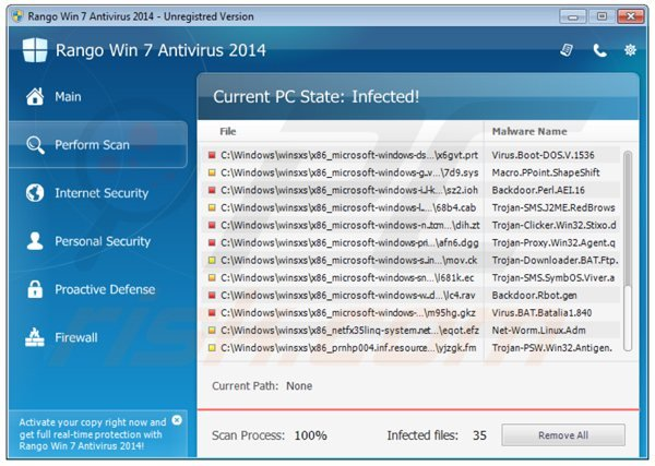 Antivrus rango win7 antivirus 2014 performant un faux sacn de sécurité