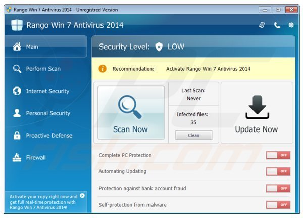rango win7 antivirus 2014 main screen
