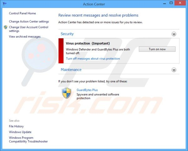 guardbytes plus affichant un faux Centre d'Action de Windows