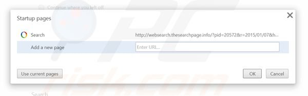 Suppression de la page d'accueil de websearch.thesearchpage.info dans Google Chrome