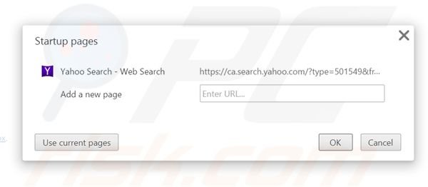 Suppression de la page d'accueil de search.yahoo.com dans Google Chrome