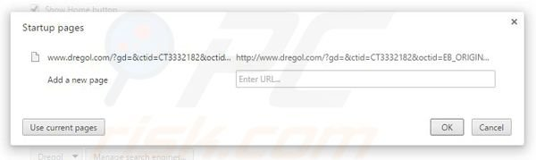 Suppression de la page d'accueil de dregol.com dans Google Chrome