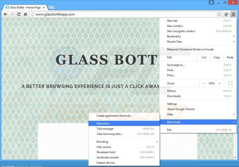 Suppression des publicités glass bottle dans Google Chrome étape 1