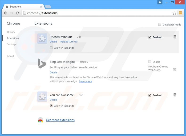 Suppression des extensions reliées à start.alawar.com dans Google Chrome