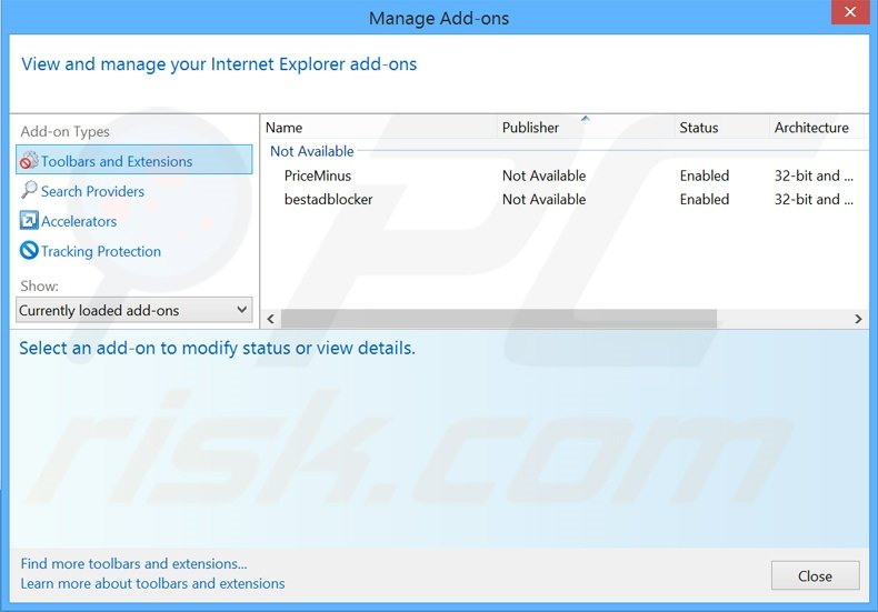 Suppression des extensions reliées à start.alawar.com dans Internet Explorer
