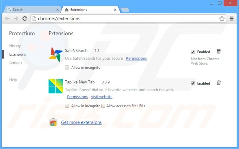 Suppression des extensions reliées à safebrowsesearch.com dans Google Chrome