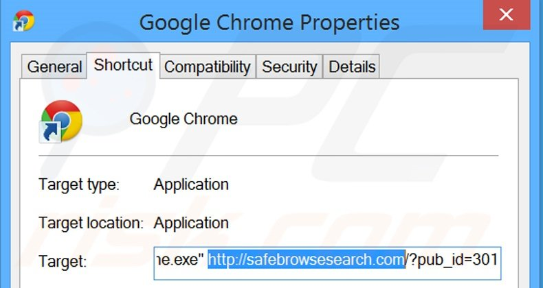 Suppression du raccourci cible de safebrowsesearch.com dans Google Chrome étape 2