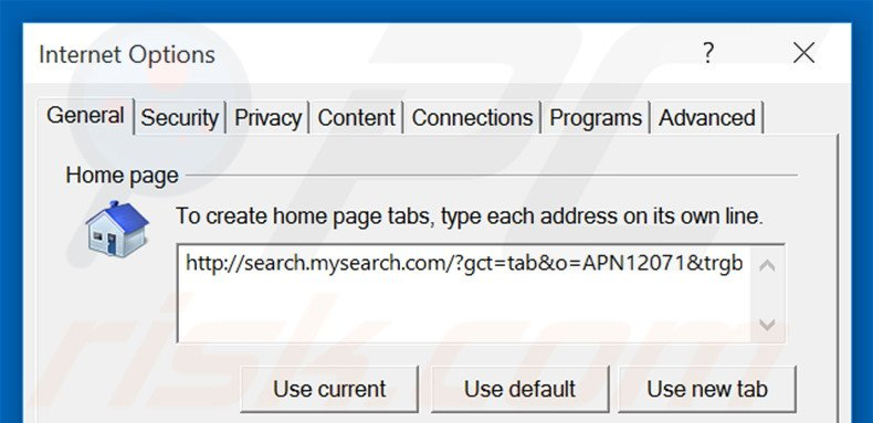 Suppression de la page d'accueil de search.mysearch.com dans Internet Explorer