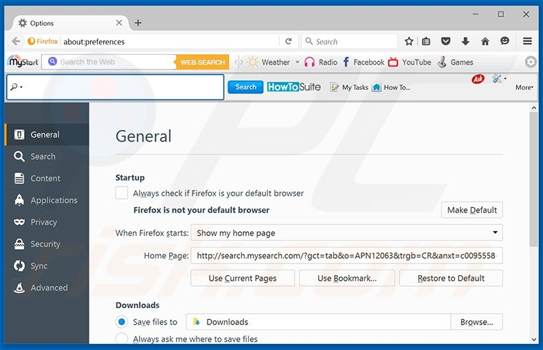 Suppression de la page d'accueil de search.mysearch.com dans Mozilla Firefox