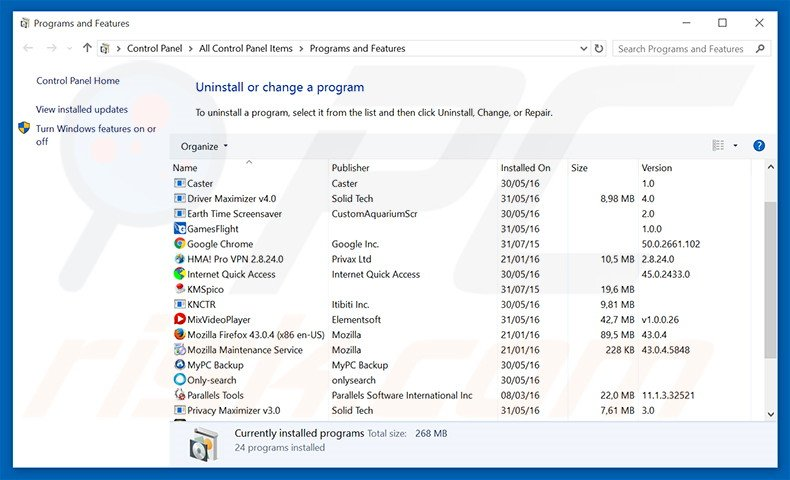 Uninstall potentially unwanted programs