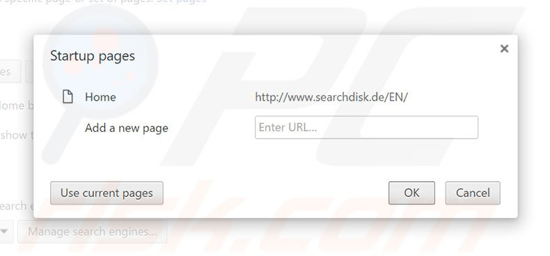 Suppression de la page d'accueil de searchdisk.de dans Google Chrome