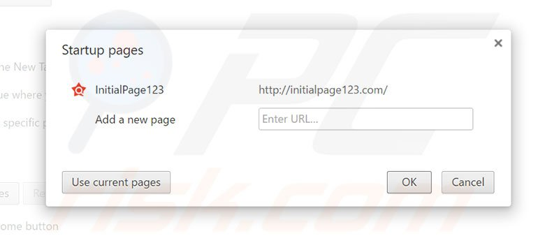 Suppression de la page d'accueil d'initialpage123.com dans Google Chrome