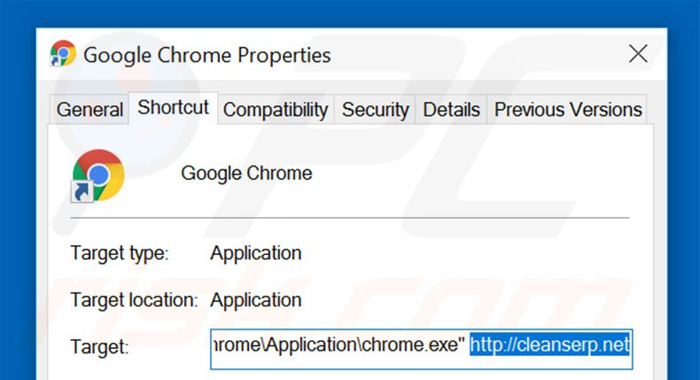 Suppression du raccourci cible de cleanserp.net dans Google Chrome étape 2