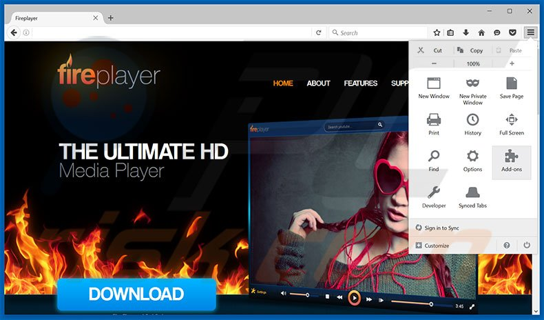 Removing FirePlayer ads from Mozilla Firefox step 1