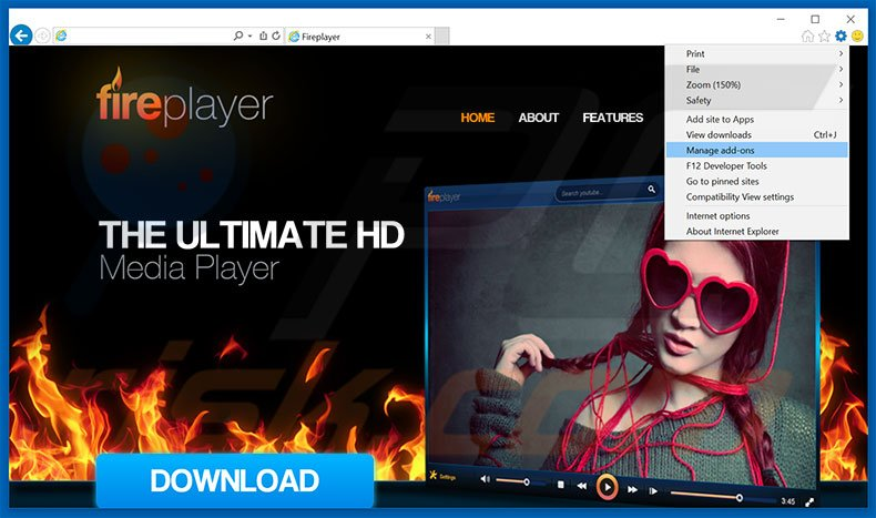 Removing FirePlayer ads from Internet Explorer step 1