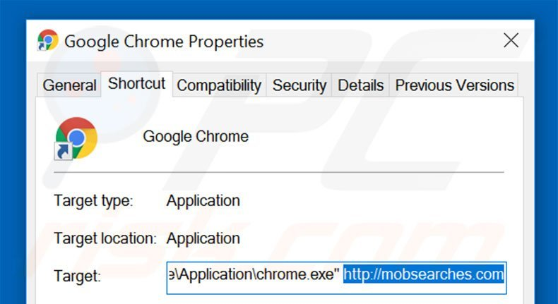 Suppression du raccourci cible de mobsearches.com dans Google Chrome étape 2
