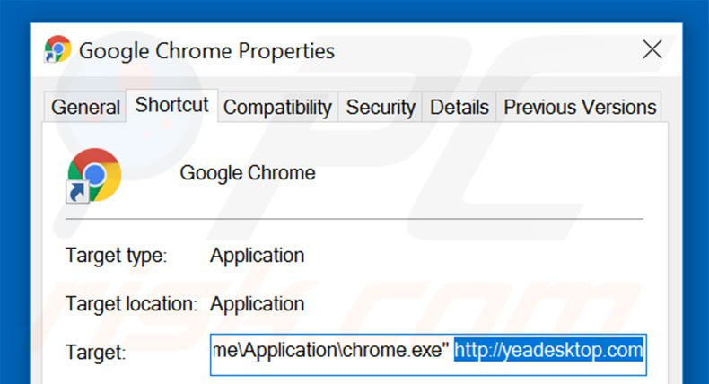 Suppression du raccourci cible d'yeadesktop.com dans Google Chrome étape 2
