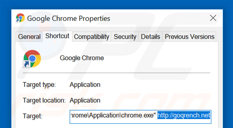Suppression du raccourci cible de goqrench.net dans Google Chrome étape 2