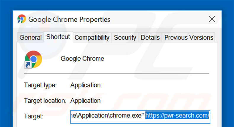 Suppression du raccourci cible de pwr-search.com dans Google Chrome étape 2