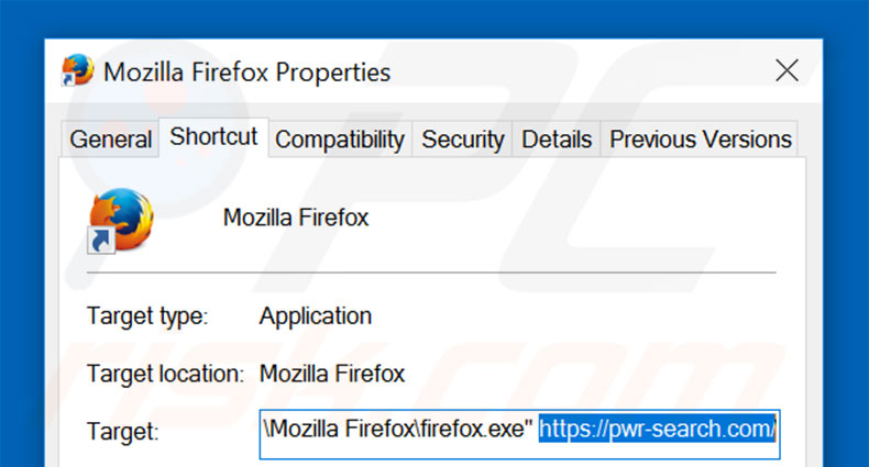 Suppression du raccourci cible de pwr-search.com dans Mozilla Firefox étape 2