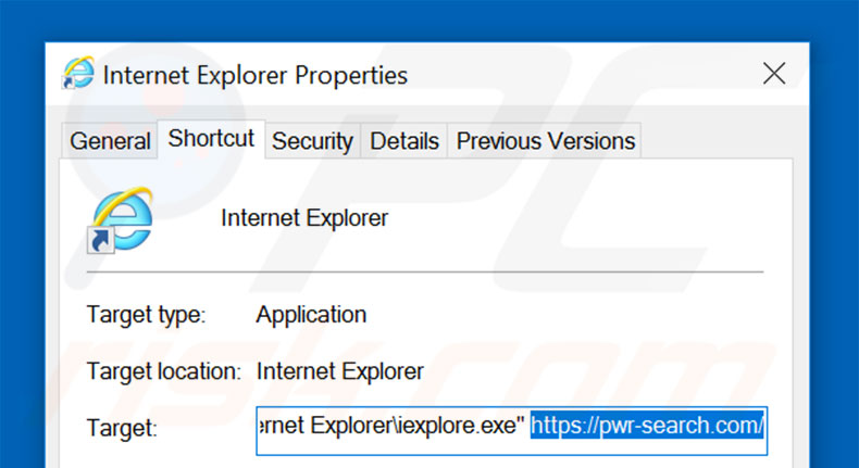 Suppression du raccourci cible de pwr-search.com dans Internet Explorer étape 2