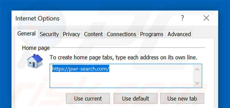 Suppression de la page d'accueil de pwr-search.com dans Internet Explorer