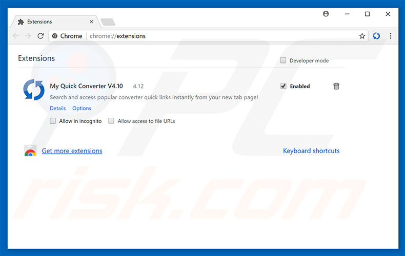 Suppression des extensions reliées à search.hmyquickconverter.com dans Google Chrome