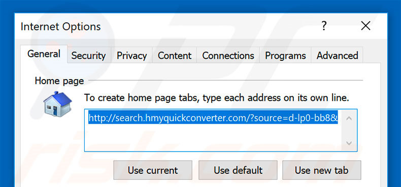 Suppression de la page d'accueil de search.hmyquickconverter.com dans Internet Explorer
