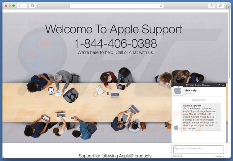 Site web affichant l'erreur Your Mac Is Infected With Popup Adware Virus